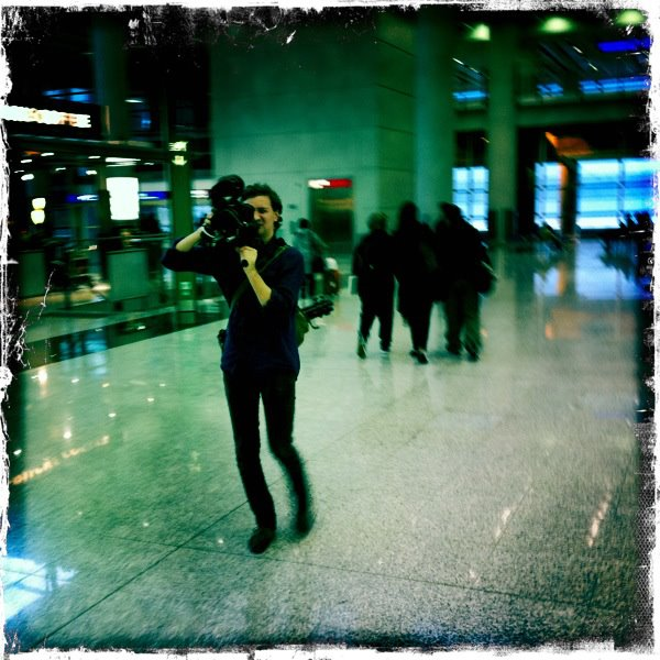 Magnus Öhrlund, director and editor, moonwalks at Hong Kong Airport. Photo: Per Gessle (From Roxette Official).