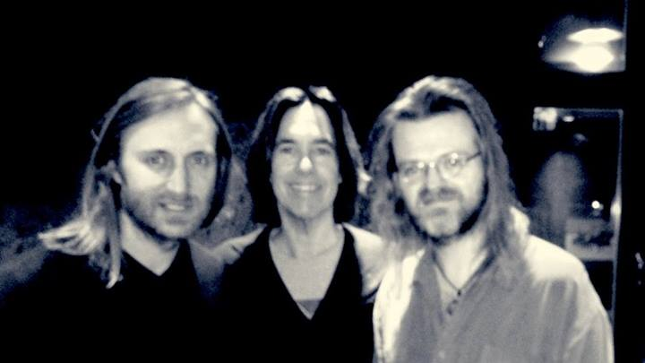 David Guetta, Per Gessle, Christoffer Lundquist in the studio - pic was posted on Roxette Official by Per