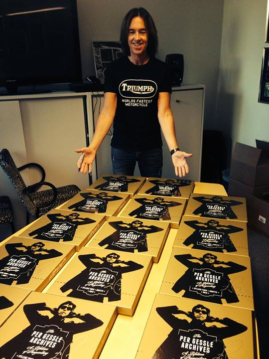 Per Gessle signing the boxes. Photo taken from The Per Gessle Archives Facebook site.